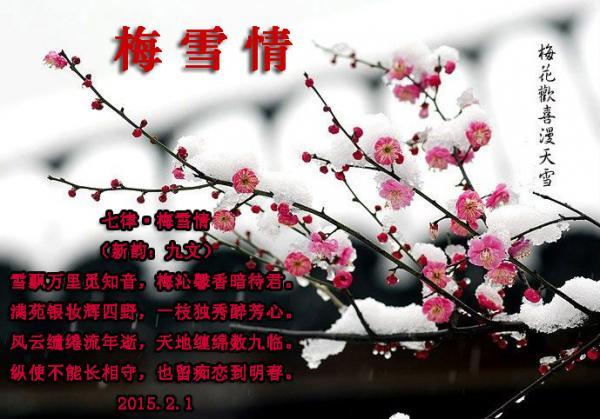 风云缱绻流年逝,天地缠绵数九临. 纵使不能长相守,也留痴恋到明春.